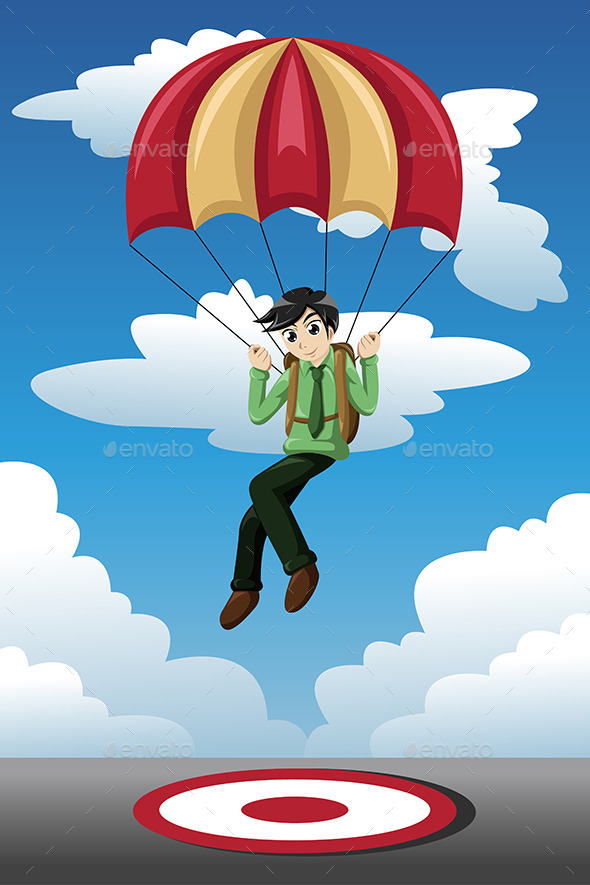 Businessman with a Parachute Landing on a Target - Concepts Business