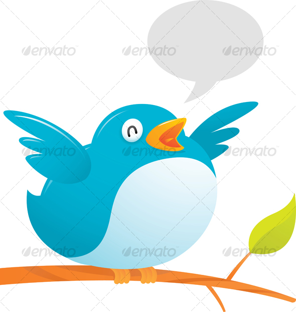 Fat Twitter Bird - Animals Illustrations