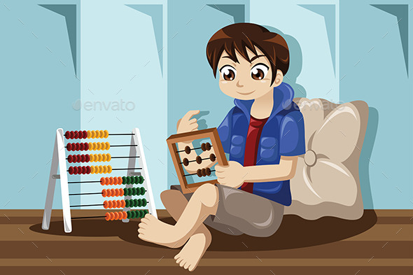 Kid Playing with Abacus - People Characters