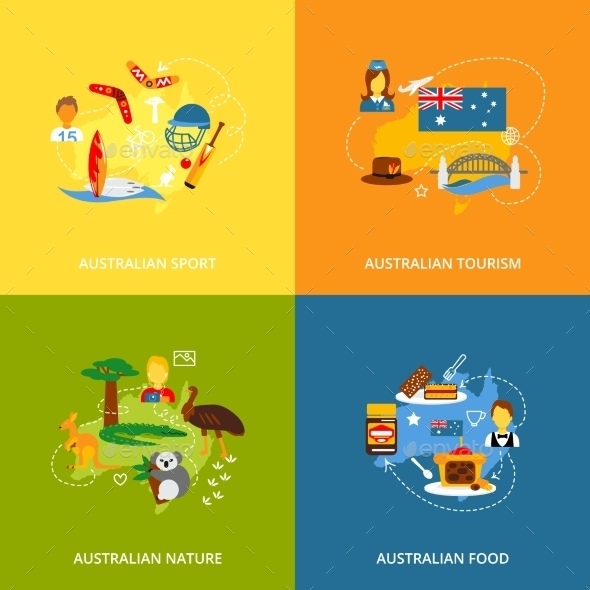 Australia Icons Set Flat - Web Technology