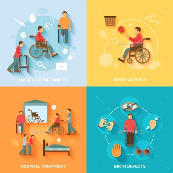 Disabled Icons Set Flat - Health/Medicine Conceptual