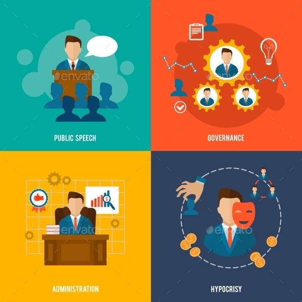 Executive Icons Flat - Business Conceptual