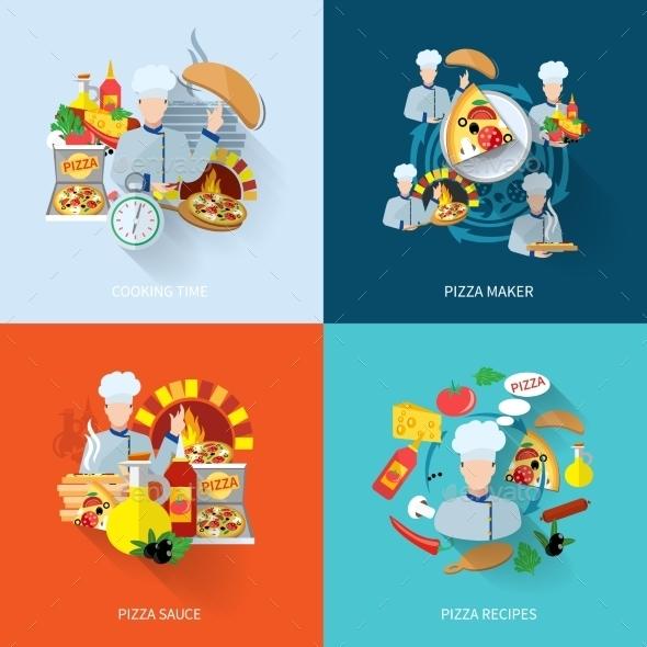 Pizza Maker Flat Set - Food Objects
