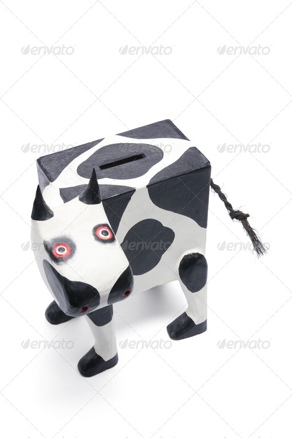 Wooden Cow Bank - Stock Photo - Images