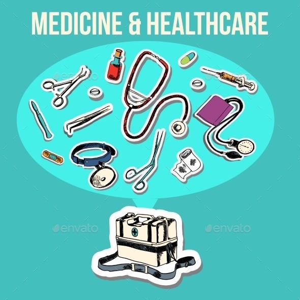 Medicine Sketch Design - Health/Medicine Conceptual