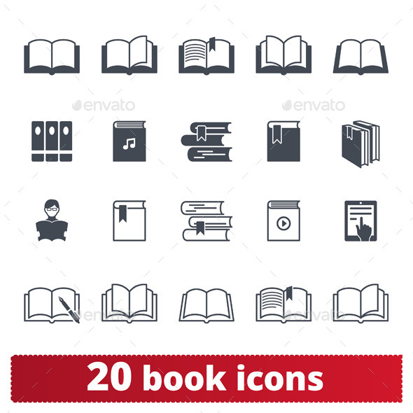20 Book icons - Man-made objects Objects
