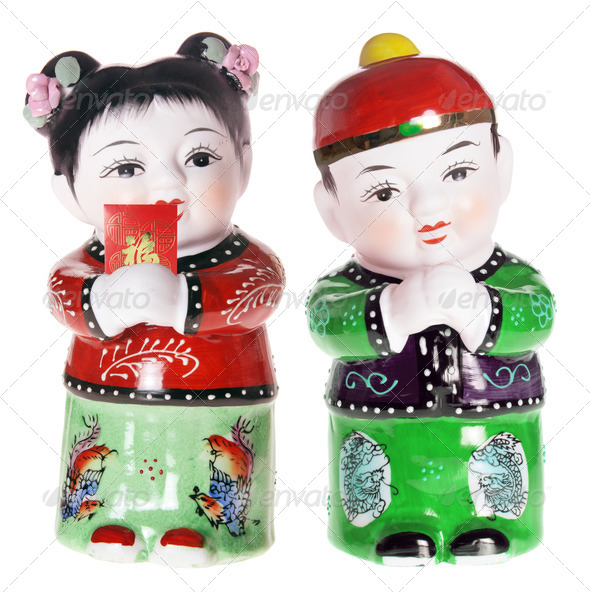 Chinese Boy and Girl Figurines - Stock Photo - Images