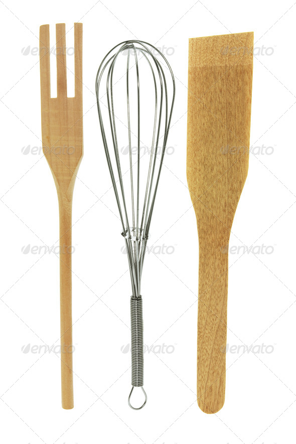 Egg Whisk and Salad Servers - Stock Photo - Images