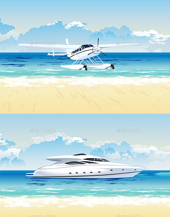 Seaplane and Speedboat on the Beach - Nature Conceptual