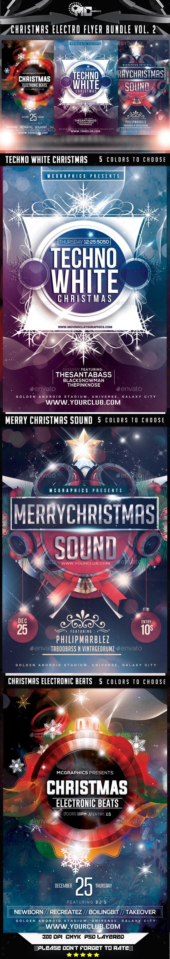 Christmas Electro Flyer Bundle Vol. 2 - Events Flyers