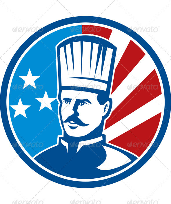 American Chef Cook Baker With Flag - Business Conceptual