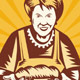 Grandma Baker With Bread Loaf Woodcut Style - GraphicRiver Item for Sale