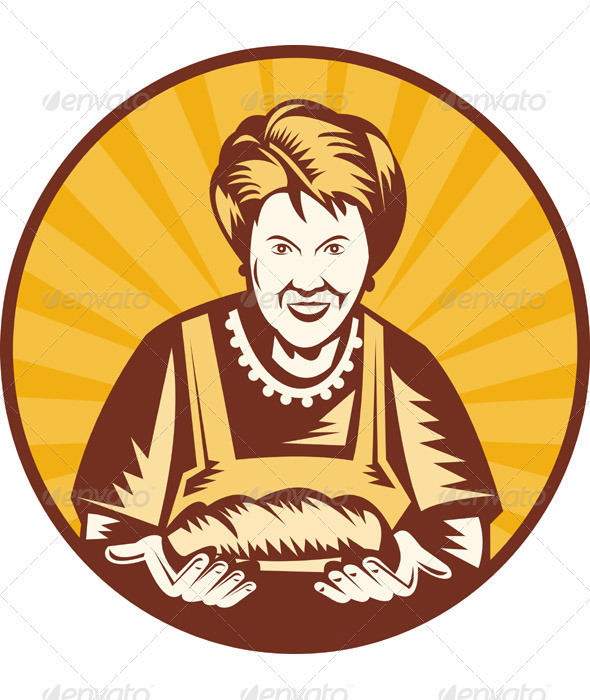 Grandma Baker With Bread Loaf Woodcut Style - People Characters