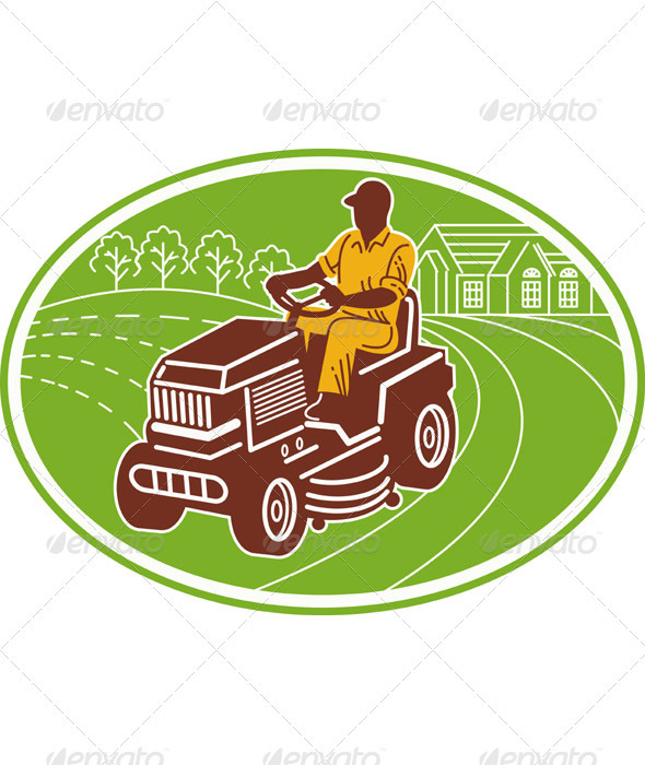 Gardener Landscaper Mowing Ride On Mower - Industries Business