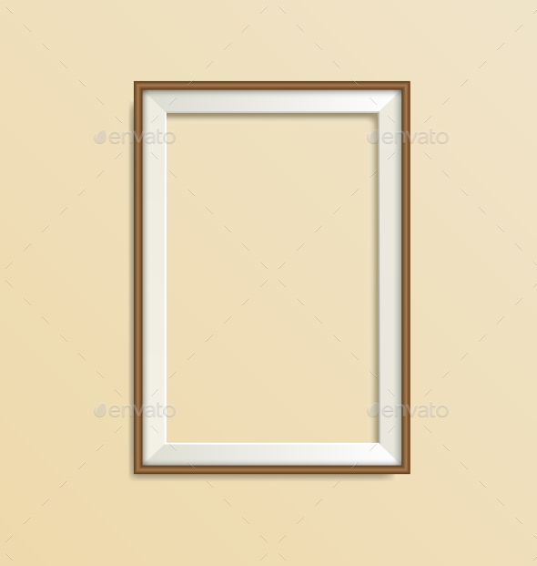 Blank Simple Wooden Modern Frame Isolated on Beige - Backgrounds Decorative