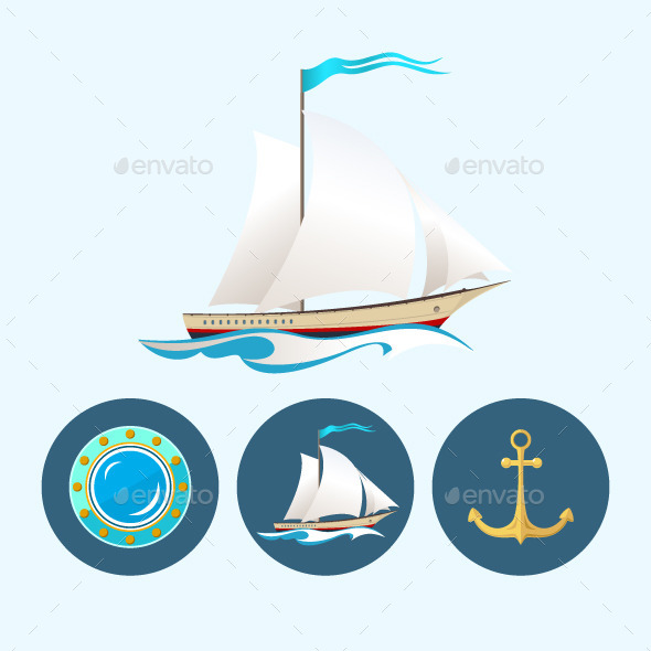 Sailing Icons - Sports/Activity Conceptual