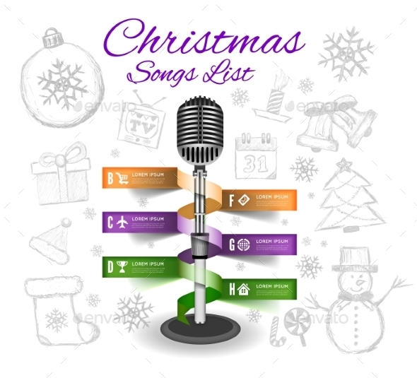Christmas Microphone Infographics - New Year Seasons/Holidays