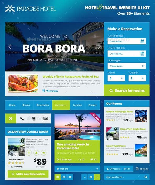 Hotel/Travel Booking Website UI Kit - PART 1 - User Interfaces Web Elements