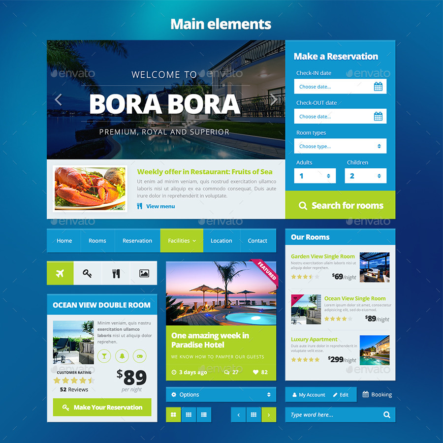 HotelTravel Booking Website UI Kit PART By Creakits GraphicRiver - Booking website template