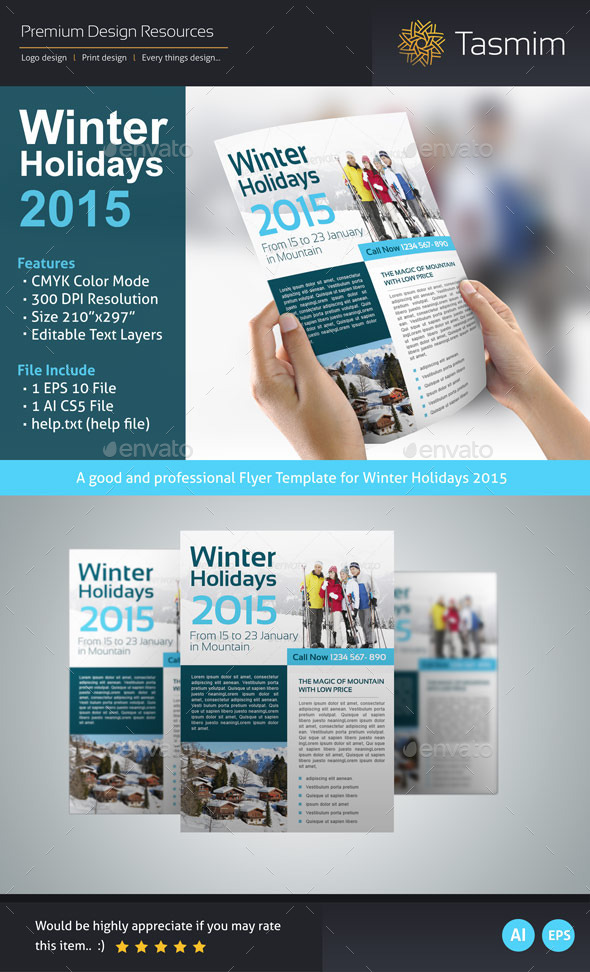 Winter Holidays 2015 Flyer Template - Holidays Events
