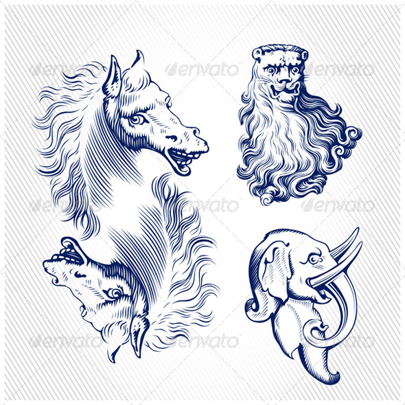 Engraving Icons of Animals - Animals Characters