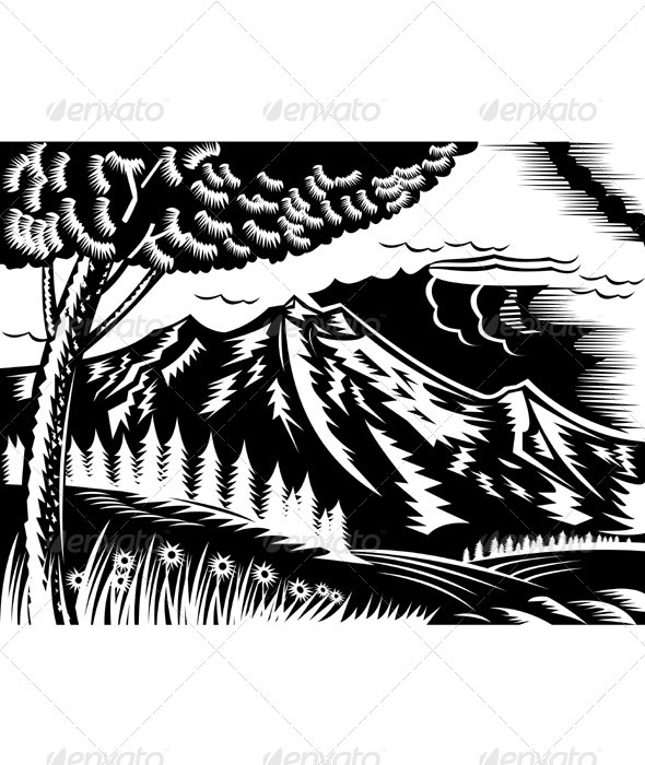 Mountain And Tree Landscape Scene - Landscapes Nature