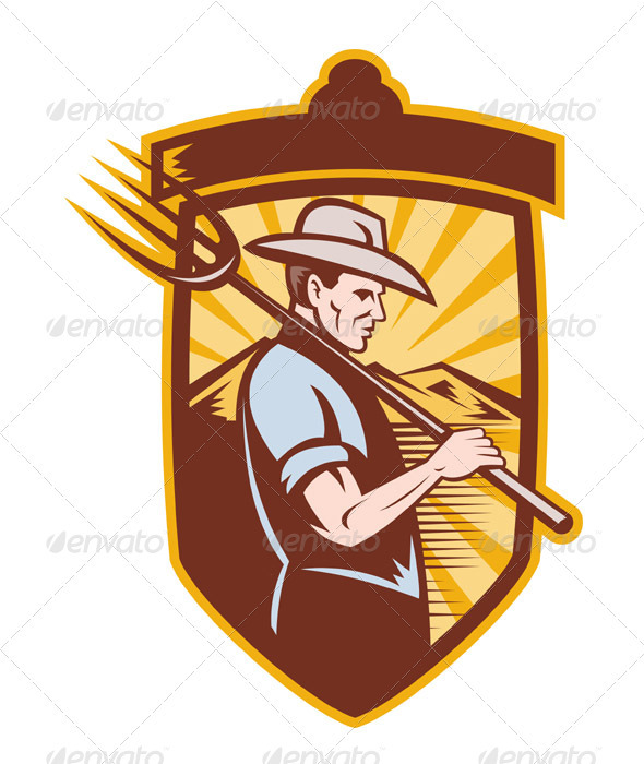 Farmer With Pitch Fork Side View Retro Style - Industries Business