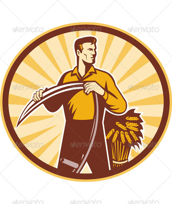 Farmer With Scythe And Wheat Crop Harvest - Industries Business
