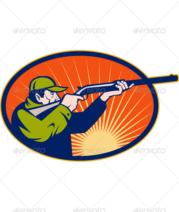 Hunter With Shotgun Rifle Aiming Side - Sports/Activity Conceptual