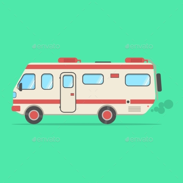 Red and Beige Travel Camper Van Isolated on Green - Travel Conceptual