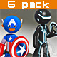 Stickman - 6 suit pack - Full Rig