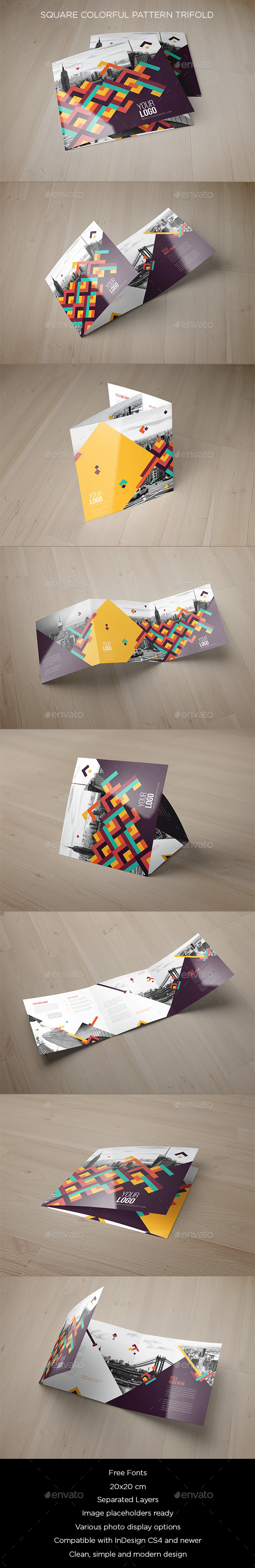 Square Colorful Pattern Trifold - Brochures Print Templates
