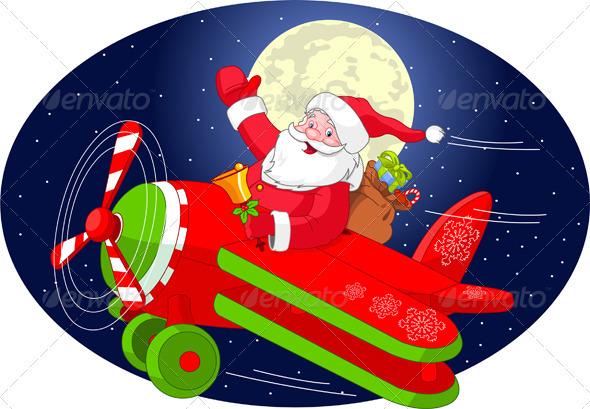 Santa is flying in an airplane - Christmas Seasons/Holidays