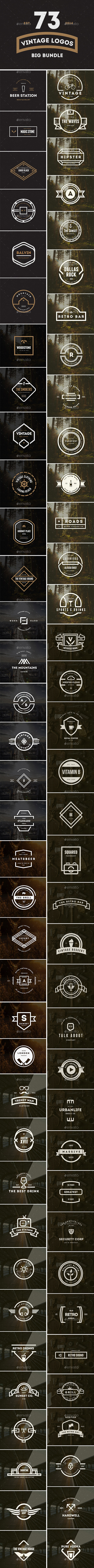 73 Vintage Labels & Badges Logos Bundle - Badges & Stickers Web Elements