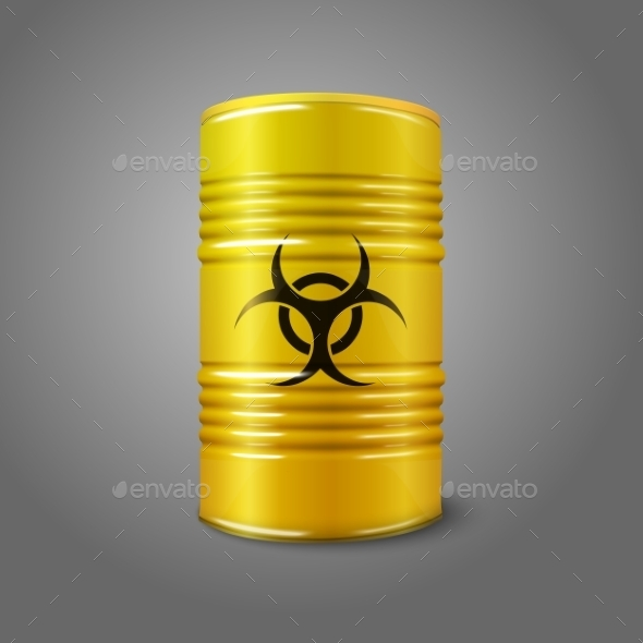 Yellow Big Barrel with Bio Hazard - Man-made Objects Objects