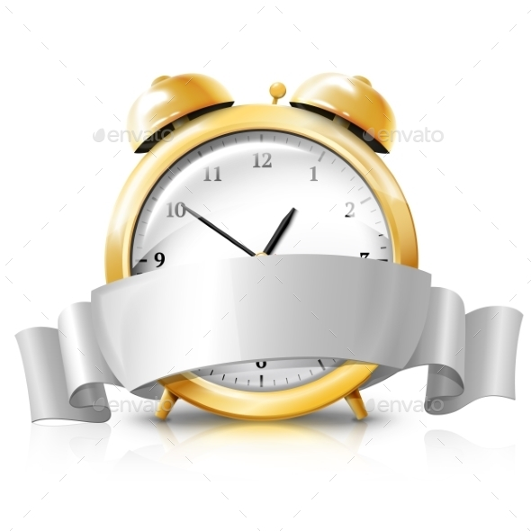 Golden Alarm Clock with Silver Banner  - Man-made Objects Objects