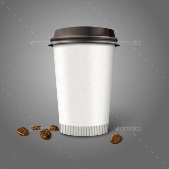 Blank Realistic Paper Coffee Cup with Beans - Man-made Objects Objects