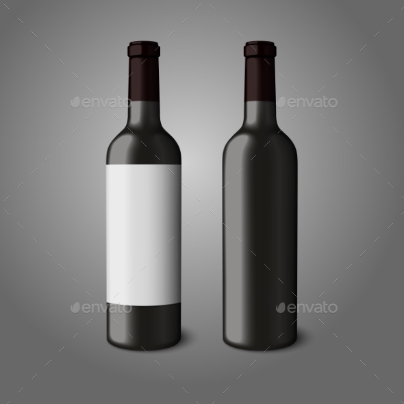 Two Blank Black Realistic Bottles for Red Wine - Man-made Objects Objects