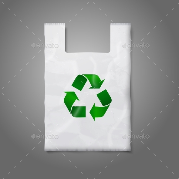 Blank White Plastic Bag with Green Recycling Sign - Man-made Objects Objects