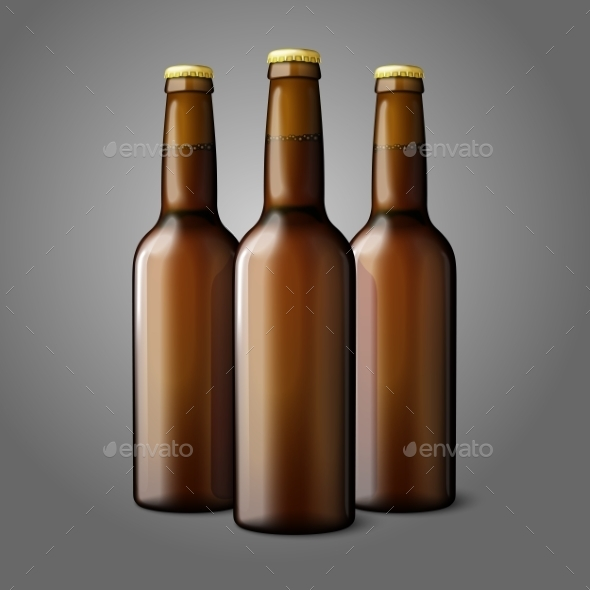 Three Blank Brown Realistic Beer Bottles - Man-made Objects Objects