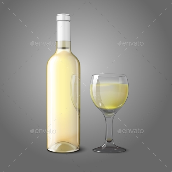 Blank Realistic Bottle for White Wine with Glass - Man-made Objects Objects