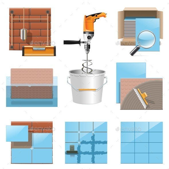 Laying Tiles Icons - Industries Business