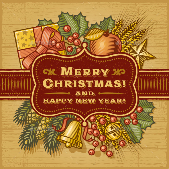 Merry Christmas Retro Card - Christmas Seasons/Holidays