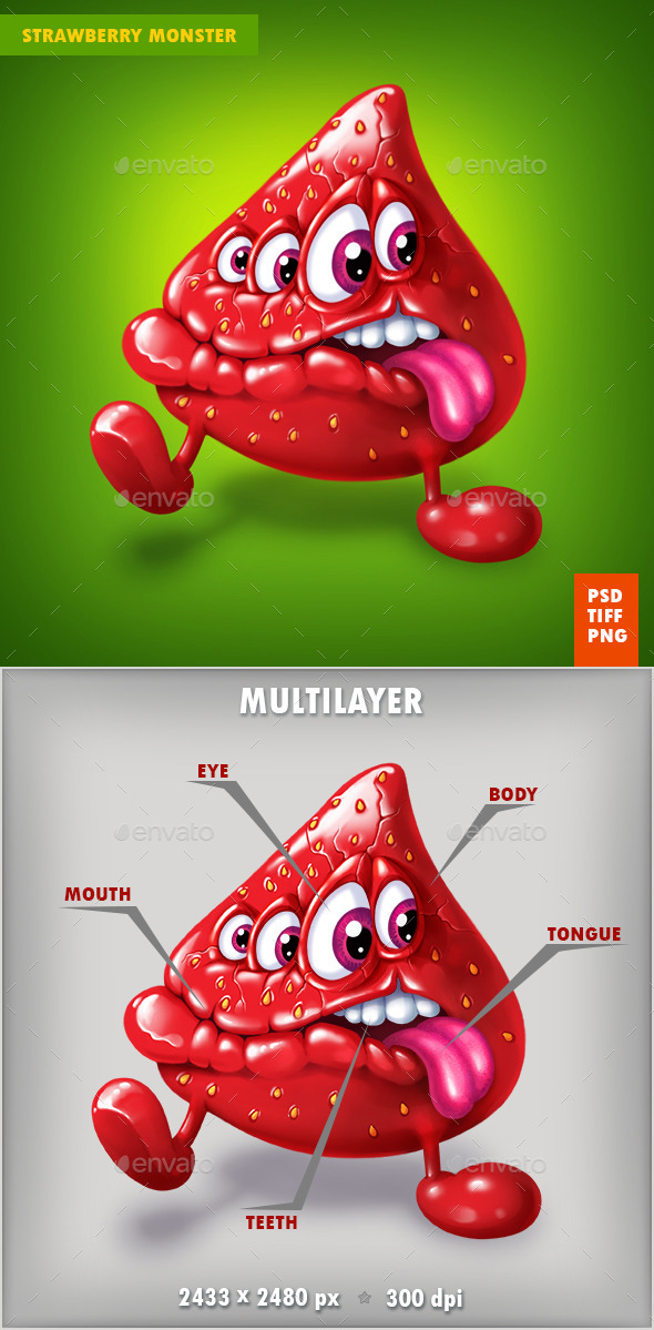 Berry strawberry Monster - Characters Illustrations