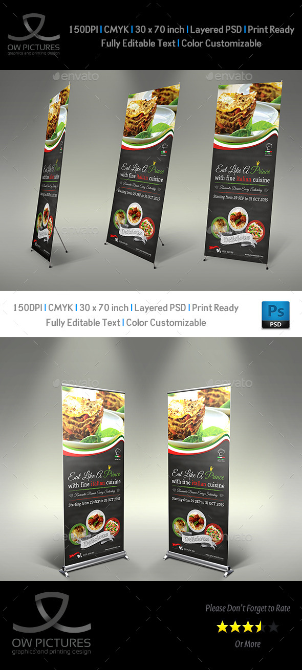 Italian Restaurant Signage Roll Up Template - Signage Print Templates