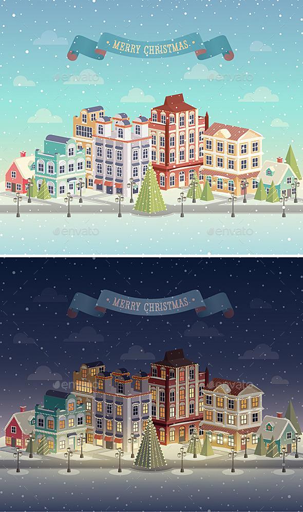 Christmas Night and Day City - Christmas Seasons/Holidays