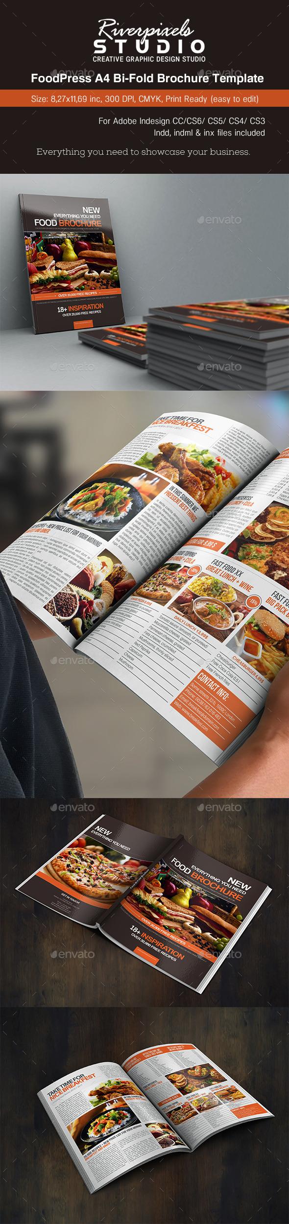FoodPress BiFold Brochure Template - Informational Brochures