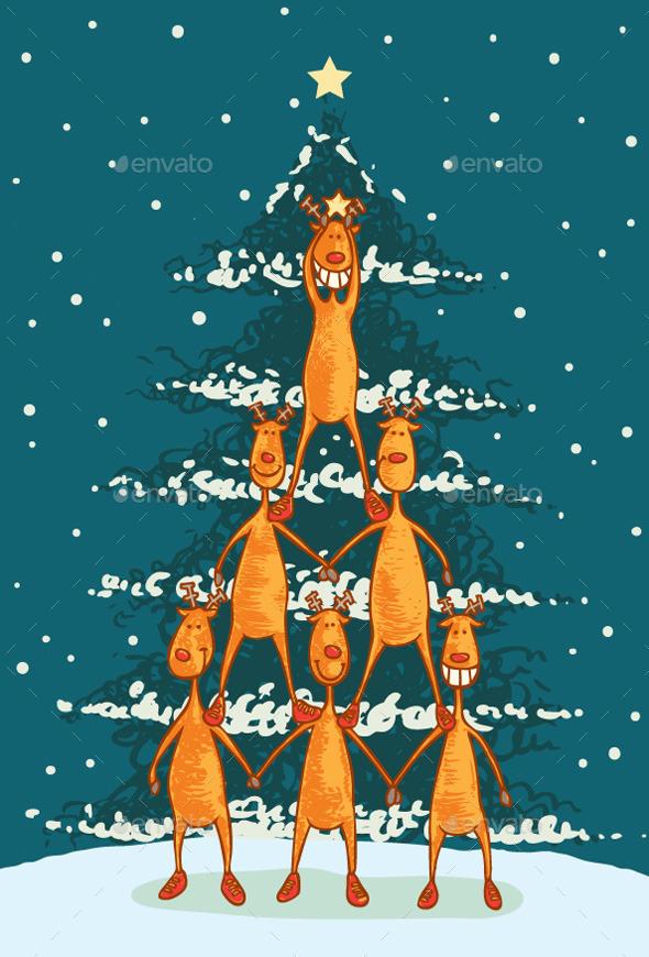 Deer and Christmas - Christmas Seasons/Holidays