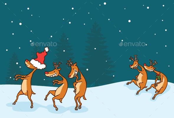 Deer Playing Blindfold Game - Christmas Seasons/Holidays