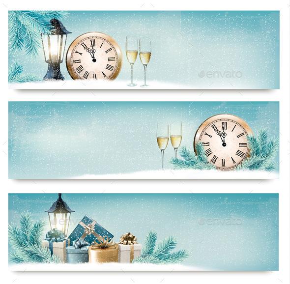 Three Christmas Backgrounds - New Year Seasons/Holidays
